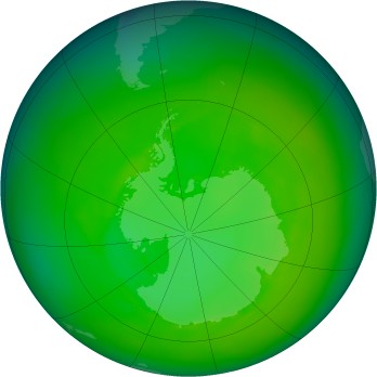 Antarctic ozone map for 1983-12