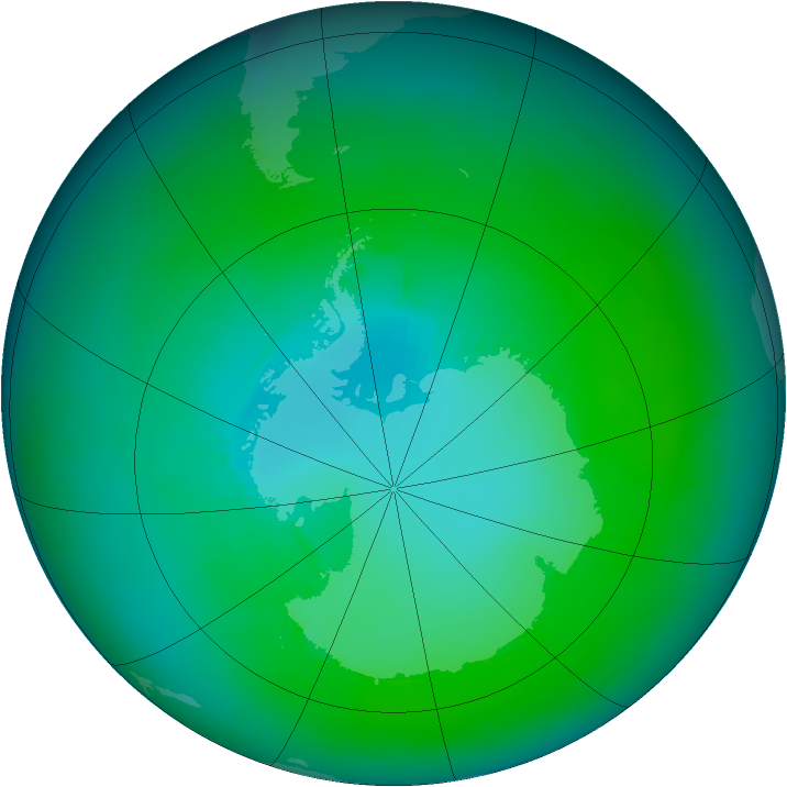Antarctic ozone map for February 1984