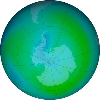Antarctic ozone map for 1984-03