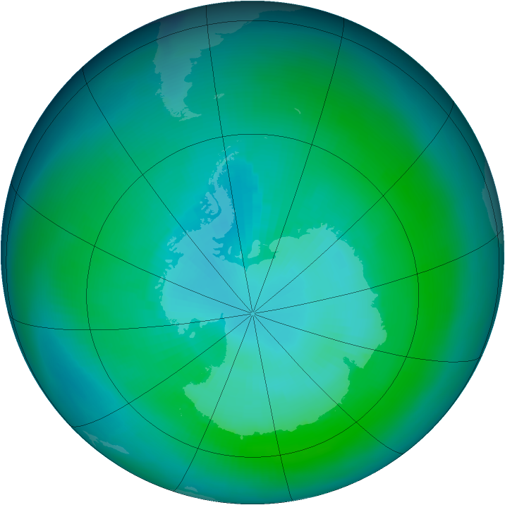 Antarctic ozone map for March 1984