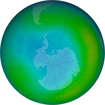 Antarctic ozone map for 1984-05