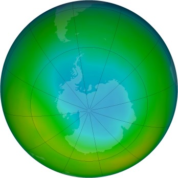 Antarctic ozone map for 1984-06
