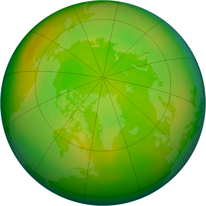 Arctic ozone map for June 1984