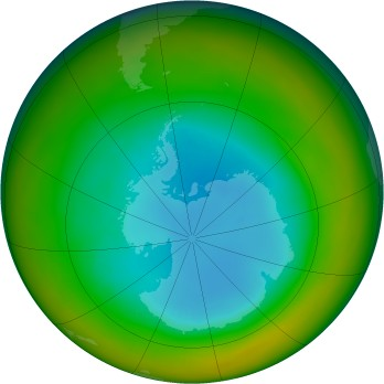 Antarctic ozone map for 1984-08