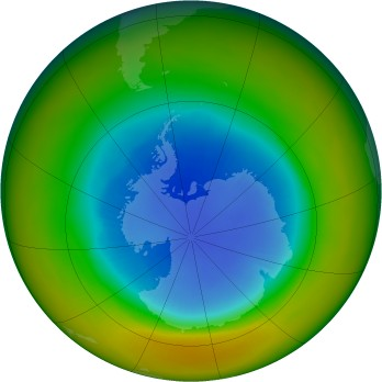 Antarctic ozone map for 1984-09
