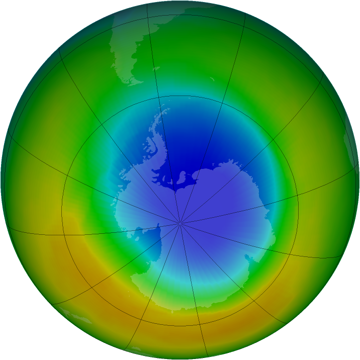 Antarctic ozone map for October 1984