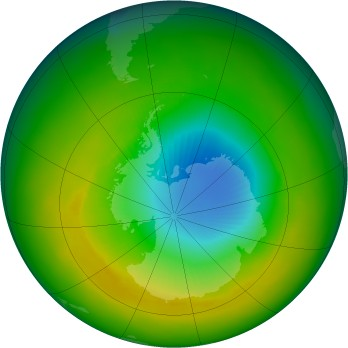 Antarctic ozone map for 1984-11