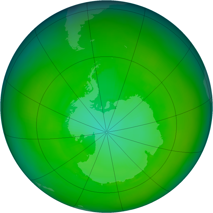 Antarctic ozone map for December 1984