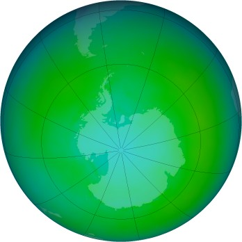 Antarctic ozone map for 1985-01