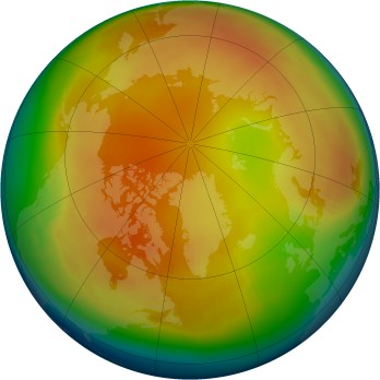 Arctic ozone map for 1985-02