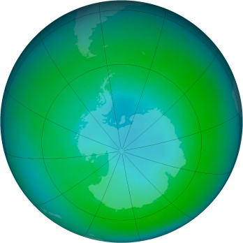 Antarctic ozone map for 1985-02