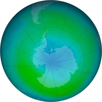 Antarctic ozone map for 1985-03