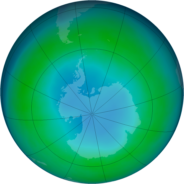 Antarctic ozone map for May 1985