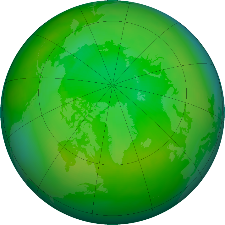 Arctic ozone map for July 1985