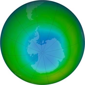 Antarctic ozone map for 1985-08