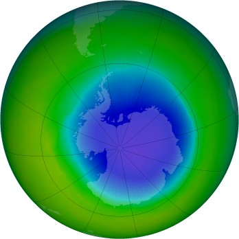 Antarctic ozone map for 1985-10