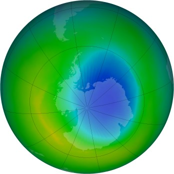 Antarctic ozone map for 1985-11