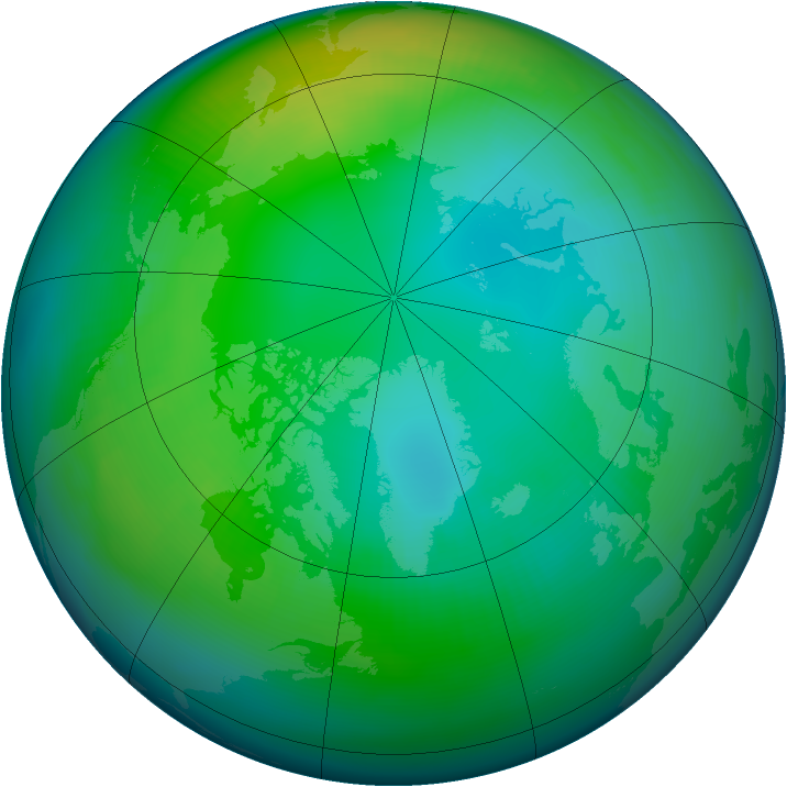 Arctic ozone map for November 1985