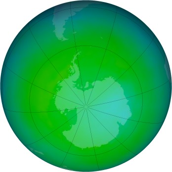 Antarctic ozone map for 1985-12