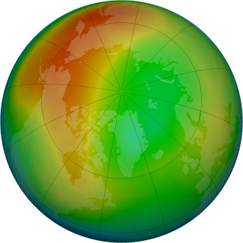 Arctic ozone map for 1986-01