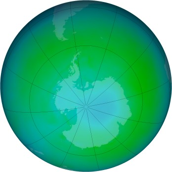 Antarctic ozone map for 1986-01