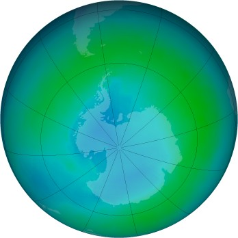Antarctic ozone map for 1986-02