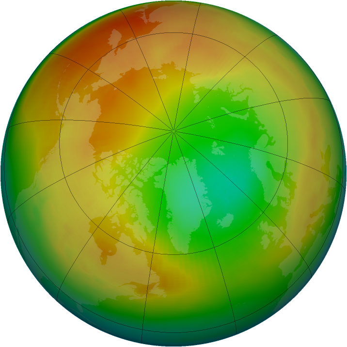 Arctic ozone map for February 1986