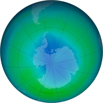 Antarctic ozone map for 1986-04