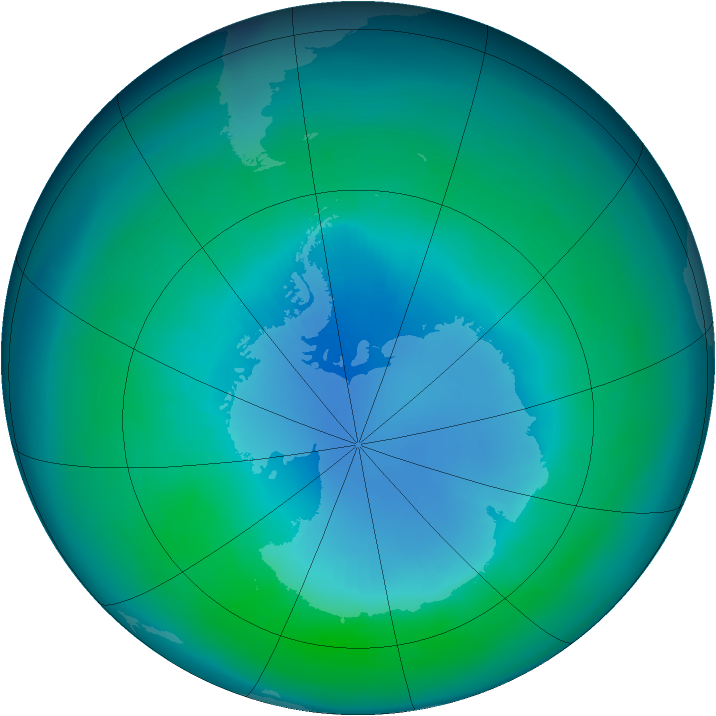 Antarctic ozone map for April 1986