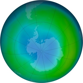 Antarctic ozone map for 1986-05