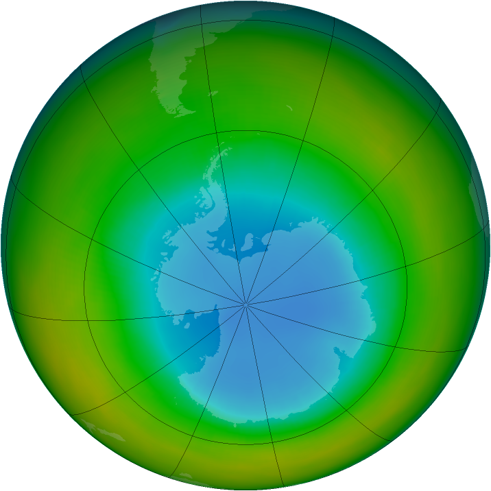 Antarctic ozone map for August 1986