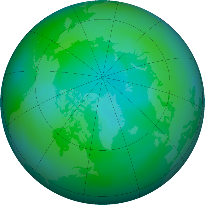 Arctic ozone map for September 1986