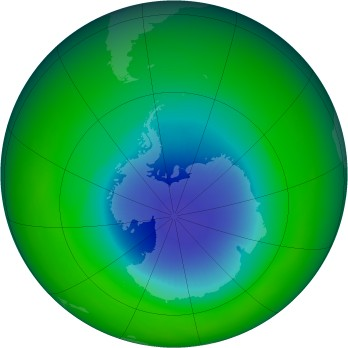 October 1986 monthly mean Antarctic ozone