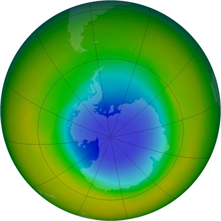 Antarctic ozone map for October 1986