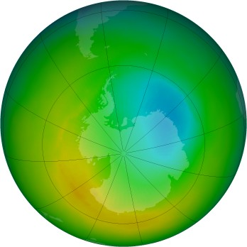 Antarctic ozone map for 1986-11