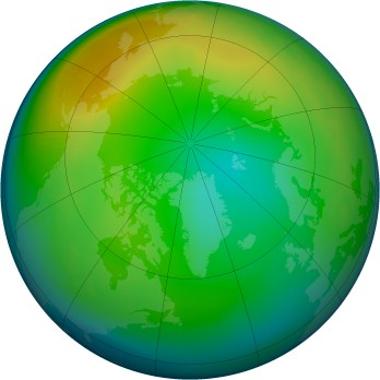 Arctic ozone map for 1986-12
