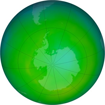 Antarctic ozone map for 1986-12