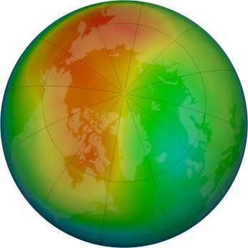 Arctic ozone map for 1987-01
