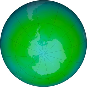 Antarctic ozone map for 1987-01