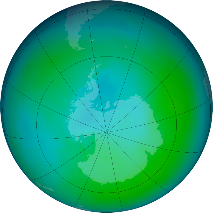 Antarctic ozone map for February 1987