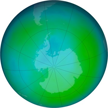 Antarctic ozone map for 1987-02