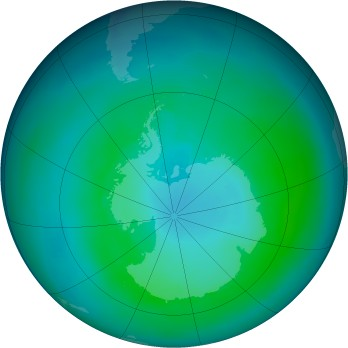 Antarctic ozone map for 1987-03