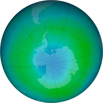 Antarctic ozone map for 1987-04