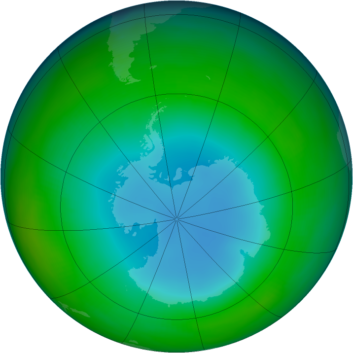 Antarctic ozone map for July 1987