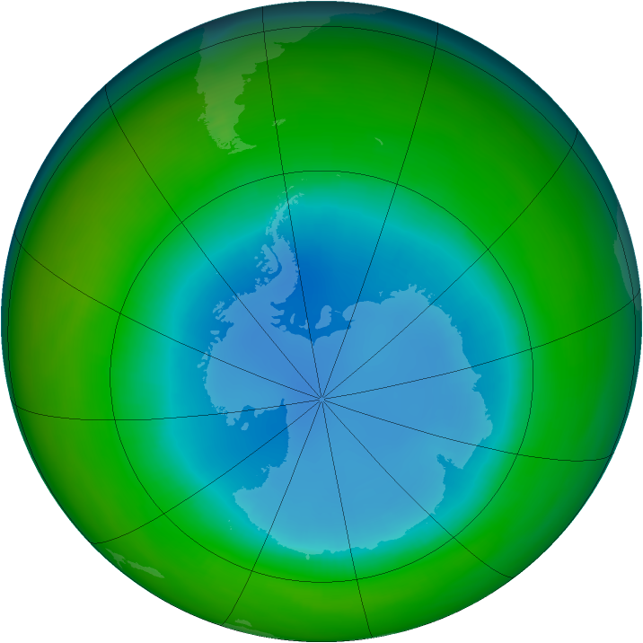 Antarctic ozone map for August 1987