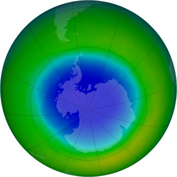 Antarctic ozone map for 1987-11