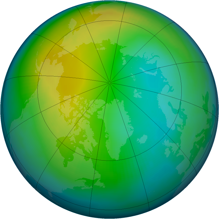 Arctic ozone map for November 1987