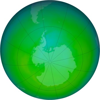 Antarctic ozone map for 1987-12