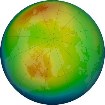 Arctic ozone map for 1988-01