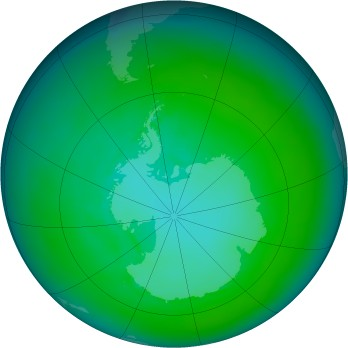 Antarctic ozone map for 1988-01